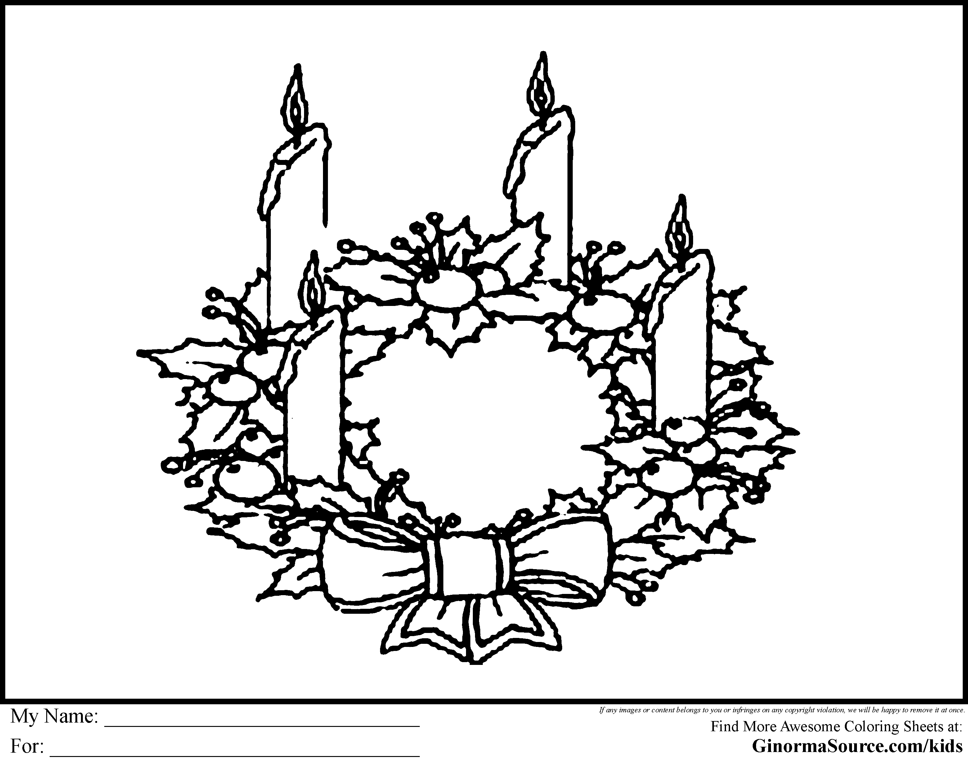 advent coloring page wreath is the green bough of a wreath with the four candles representing the four sundays of the advent season - Advent Coloring Pages