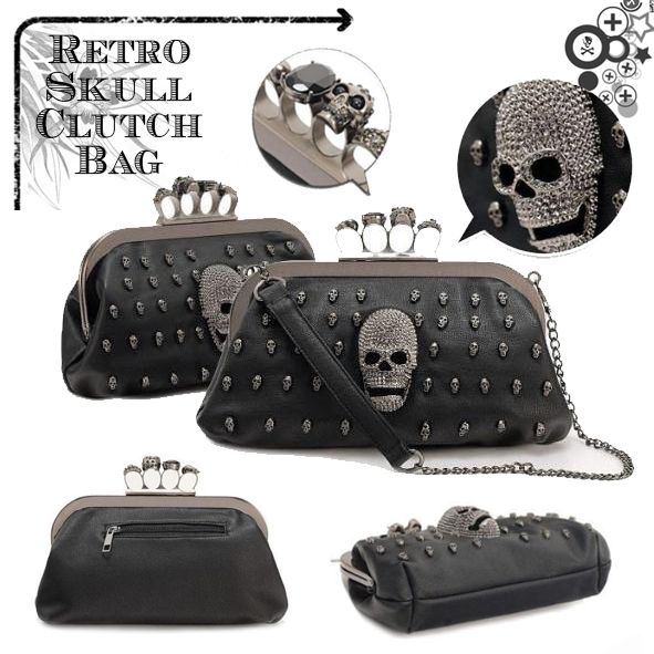 Evening Casual Retro Skull Clutch Bag, ♥ more details: www.favechic.com, we are FREE SHIPPING and give you CASHVOUCHER only by subscribe ♥ #favechic #fashion #ootd #style #retro #skull #best #top #korea #bag