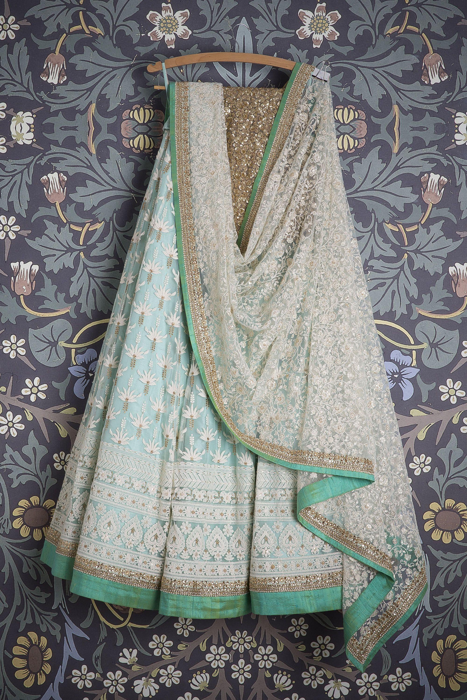 Smf leh sky blue lehenga with floral white threadwork white