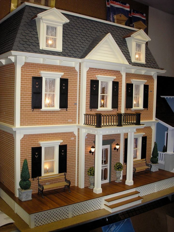 Federal style dollhouse with brick and black shutters | Delightful