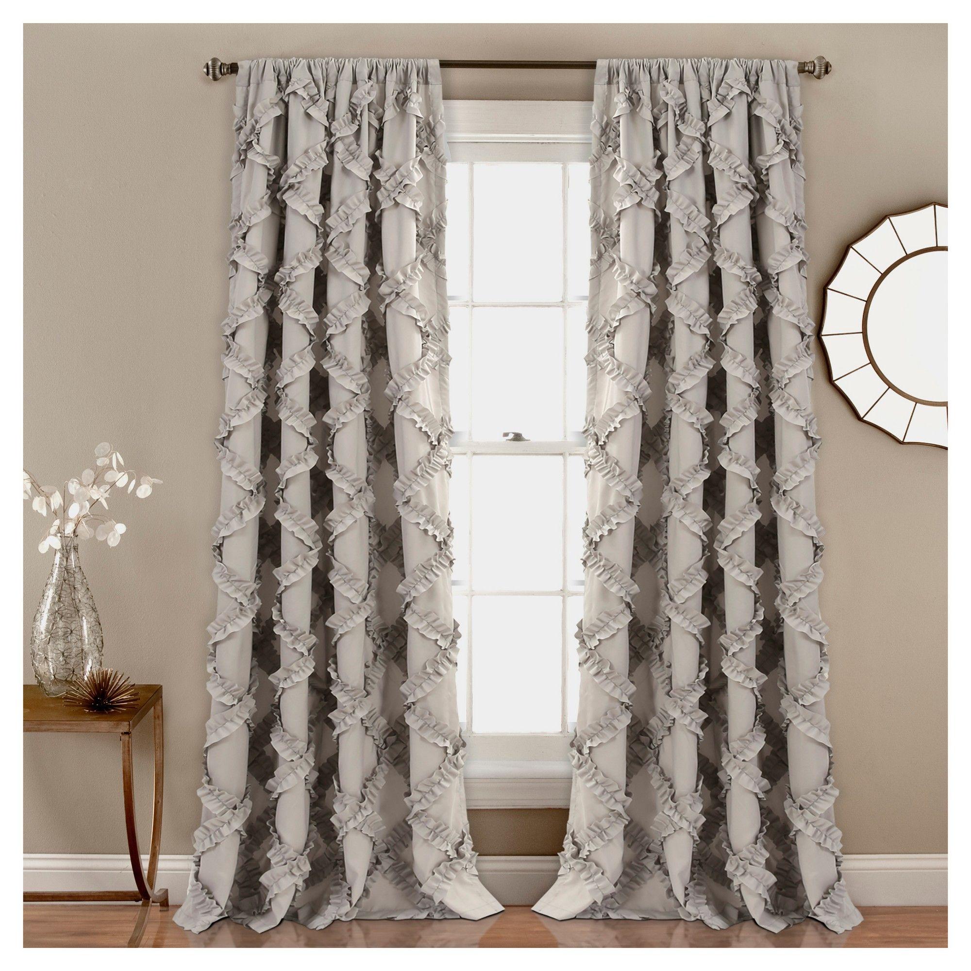 Set Of 2 84 X54 Ruffle Diamond Light Filtering Window Curtain Panels Gray Lush Decor Lush Decor Easy Home Decor Panel Curtains