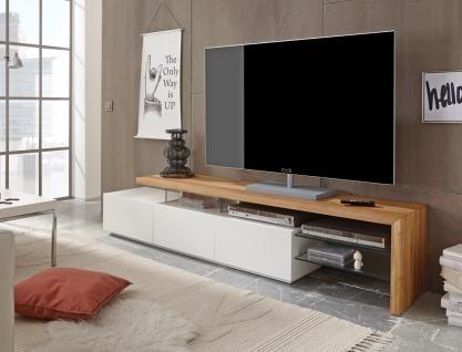 Lowboard Alessa I 204x40x44 cm weiß Eiche TV-Board TV-Möbel - schrank wohnzimmer weiß