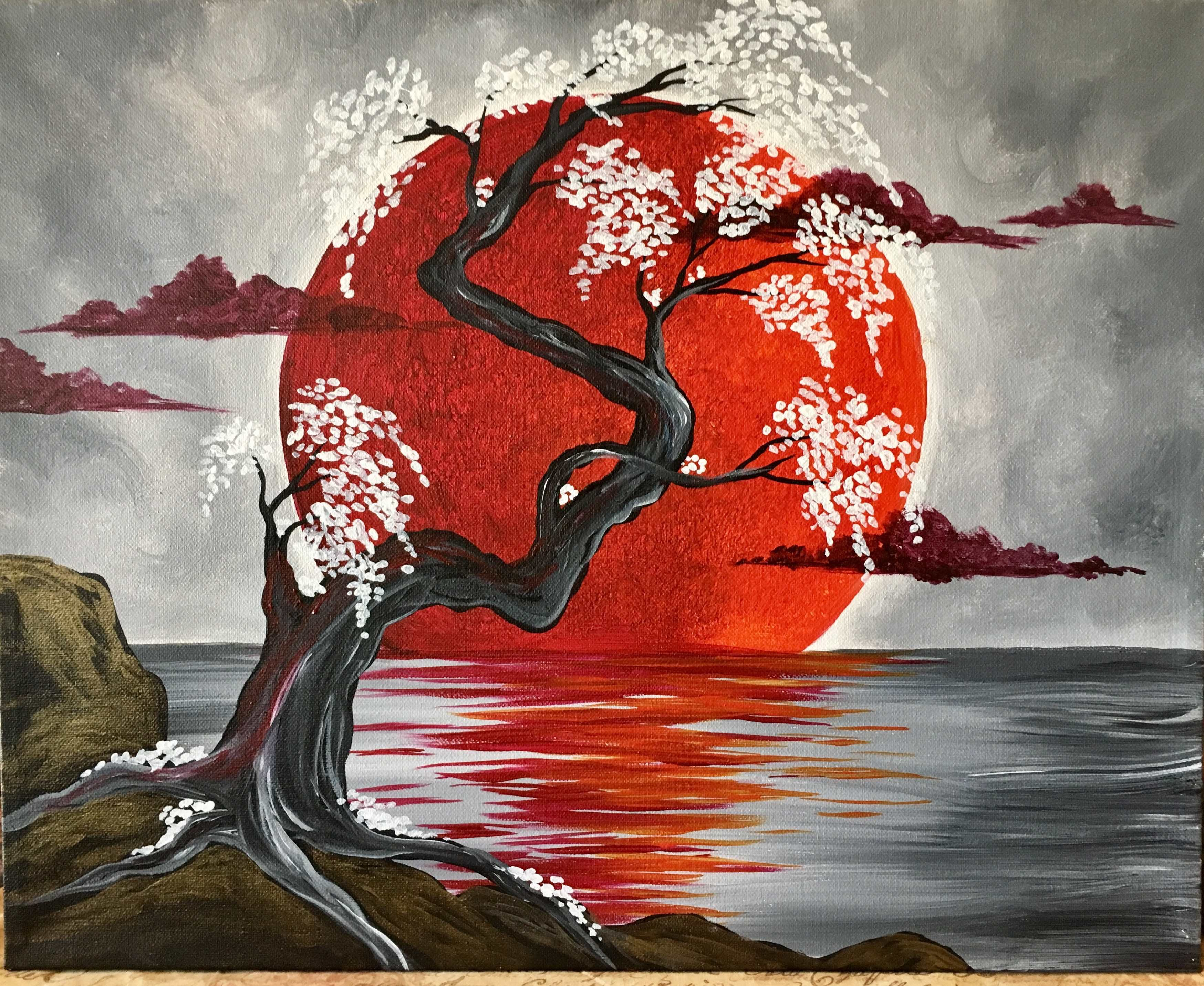 This Contemporary Picture With Its Deep Crimson Moon And Delicate Flowers Is Surreal Japanese Art Painting Asian Art