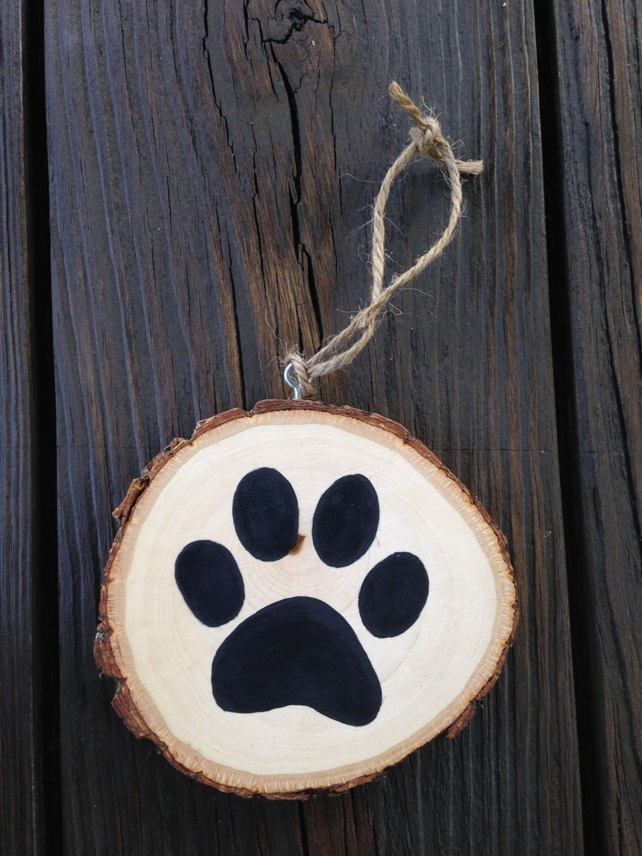 Dog paw wood slice ornament