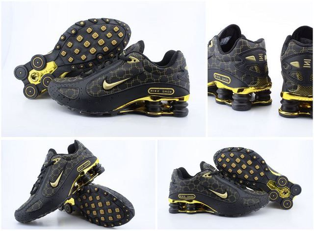 Mens Nike Shox Monster Black Gold Shoes discount now on  ShoxR4ShoesSale.com,only need