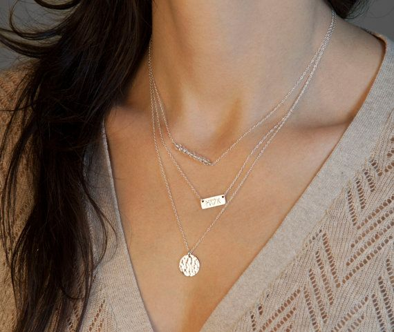 Silver Layered Necklace Set With Short Name Plate Necklace