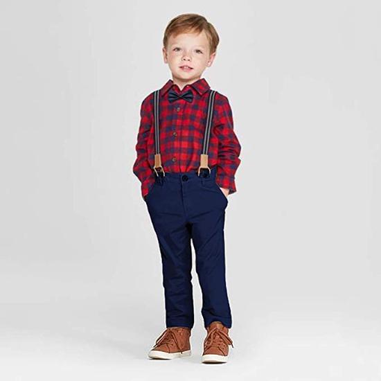 Boys Clothes Set 4 pcs Plaid Shirts+Bowtie+Suspender Pant Sets Infant Gentleman Autumn Outfit Set
