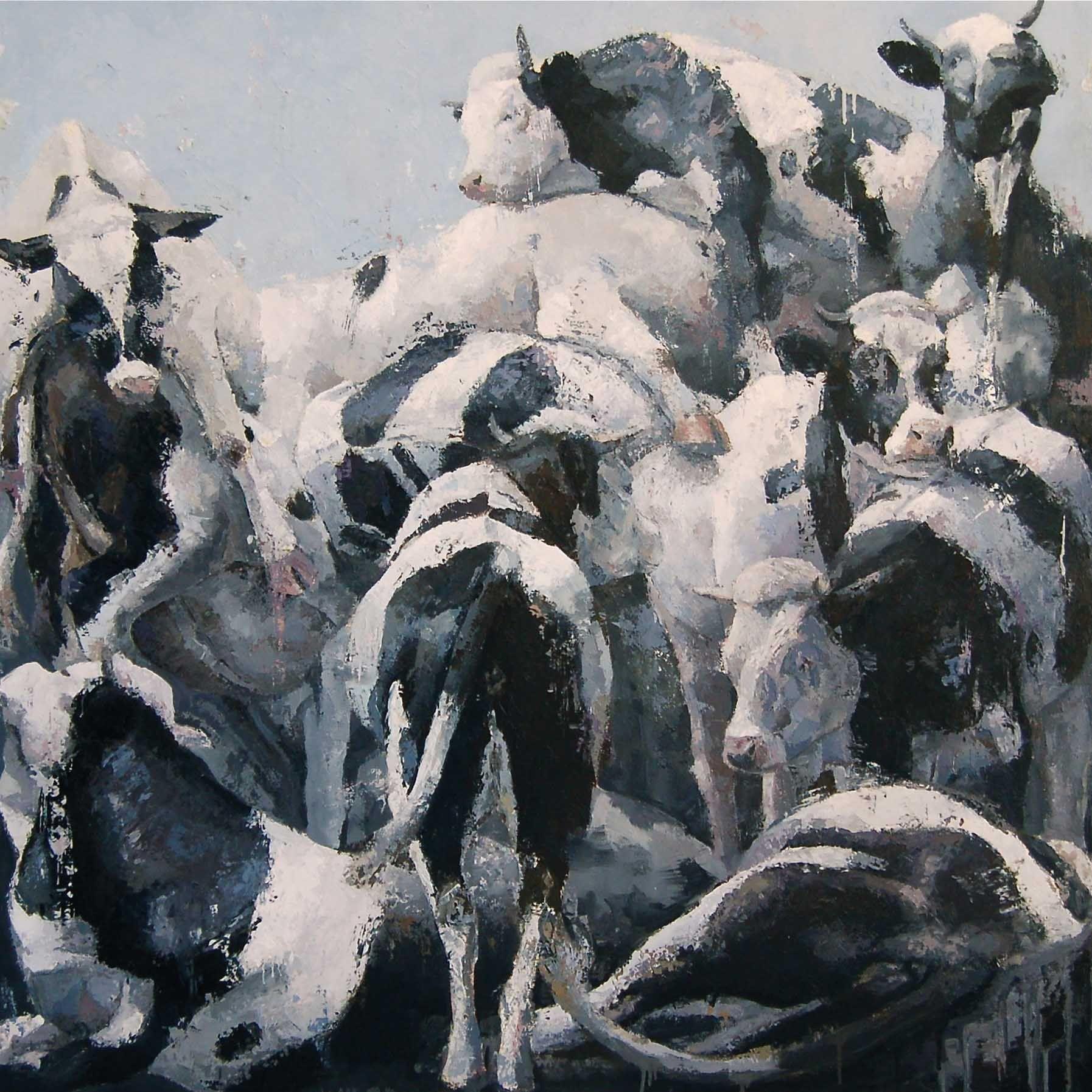 Davide Puma  La messa è finita  olio su tela 160 x 160 cm / oil on canvas