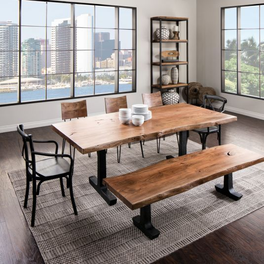 Boulevard Dining Table With Bench Live Edge Dining Table