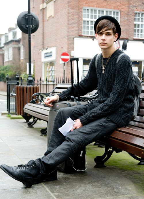 """mypassionforbeauty: """" I love his style! // Ethan James """"It was raining (its raining still…) when Ethan and I met while crossing the street. When I asked if I could take his picture he said sure if I could tell him where Storm model agency was. I did...."""