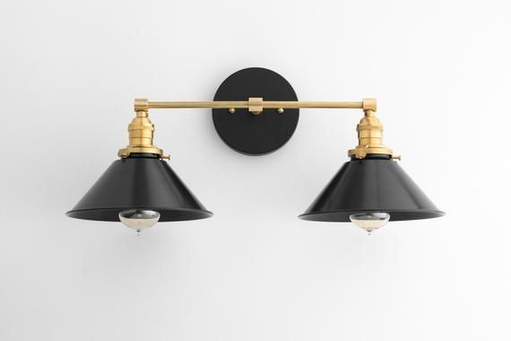 Photo of Black brass vanity light – bathroom wall light – modern light – mirror lighting – Edison light bulb – model no. 9468