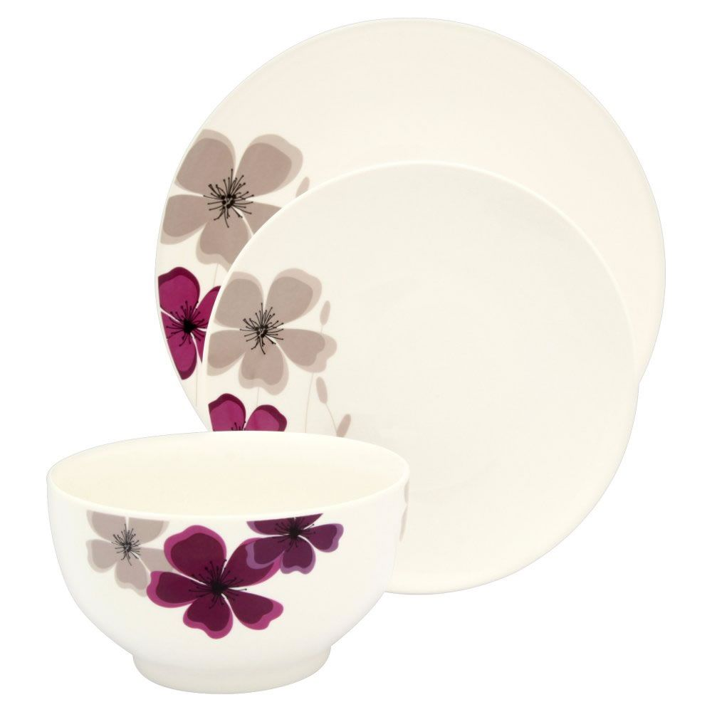 Wilko dinner set porcelain cream with purple meadow design 12 pieces wilko dinner set porcelain cream with purple meadow design 12 pieces at wilko solutioingenieria Image collections