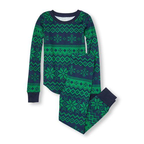 Baby Boys Boys Long Sleeve Fair Isle Print Top And Pants Pj Set ...
