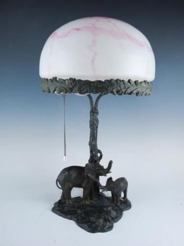 Early 20c Figural Mother U0026 Baby Elephant Art Glass Pink Shade Table Lamp In  Antiques,
