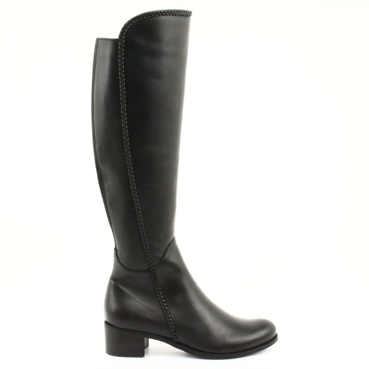 Dlugie Kozaki Z Warkoczem Espinto 194 Darex Czarne Boots Long Boots Womens Boots