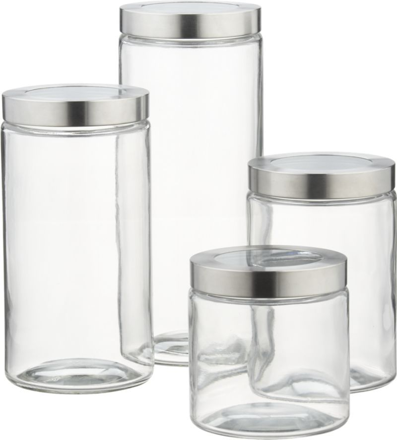 Glass Storage Canisters with Stainless Steel Lids