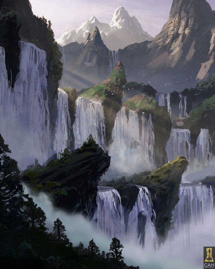 Mountain Waterfalls By Concept Art House On Deviantart Fantasy Landscape Landscape Concept Fantasy Concept Art