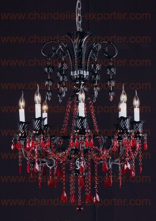 8 Lights Black Red Crystal Chandelier With Beads Manufacturers From Zhongshan Sharing Lighting Co