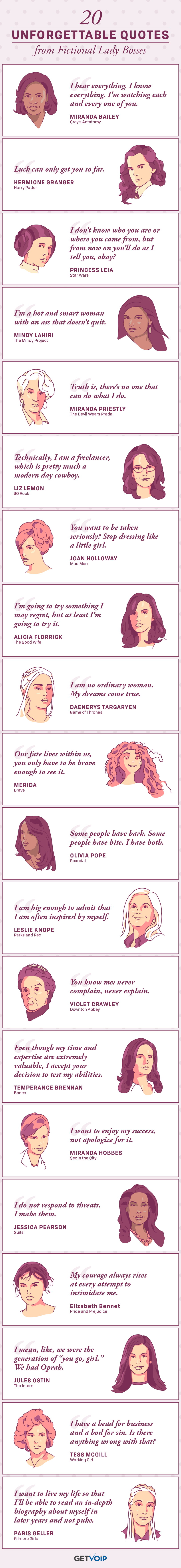 20 Unforgettable Quotes from Fictional Lady Bosses #Infographic