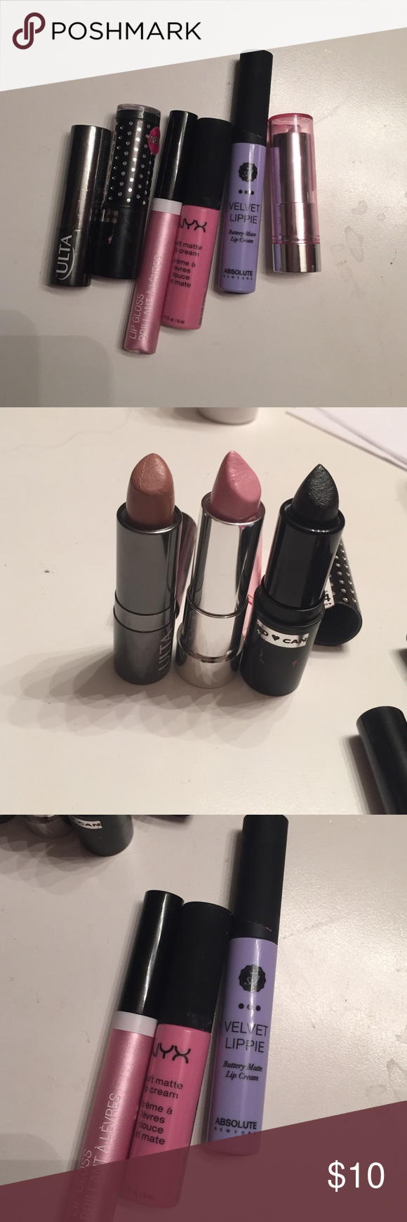 6 lipsticks/lipglosses Lot of 6 never used/only used once or twice lipsticks & lipglosses. The ones that I've used have been sanitized.   Hard candy: 'black diamond', essence: 'frosted', ulta: 'coffee break 224', NYX soft matte lip cream: 'Sydney', wet n wild: 'sinless 544', & absolute: 'wonderland'. They range from nudes to light pinks to lavender to jet black! NYX Makeup Lipstick