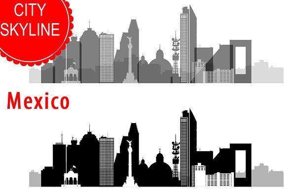 Mexico City Skyline Vector By DimShop On @creativemarket