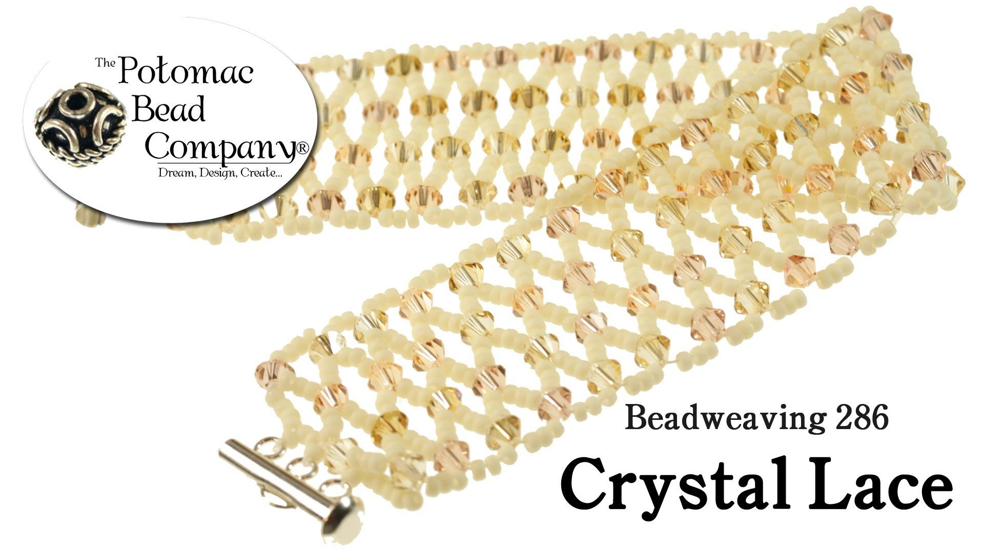 This tutorial from The Potomac Bead Company shows you how to make our 'Crystal Lace' bracelet using Miyuki seed beads, and your choice of other beads or crys...