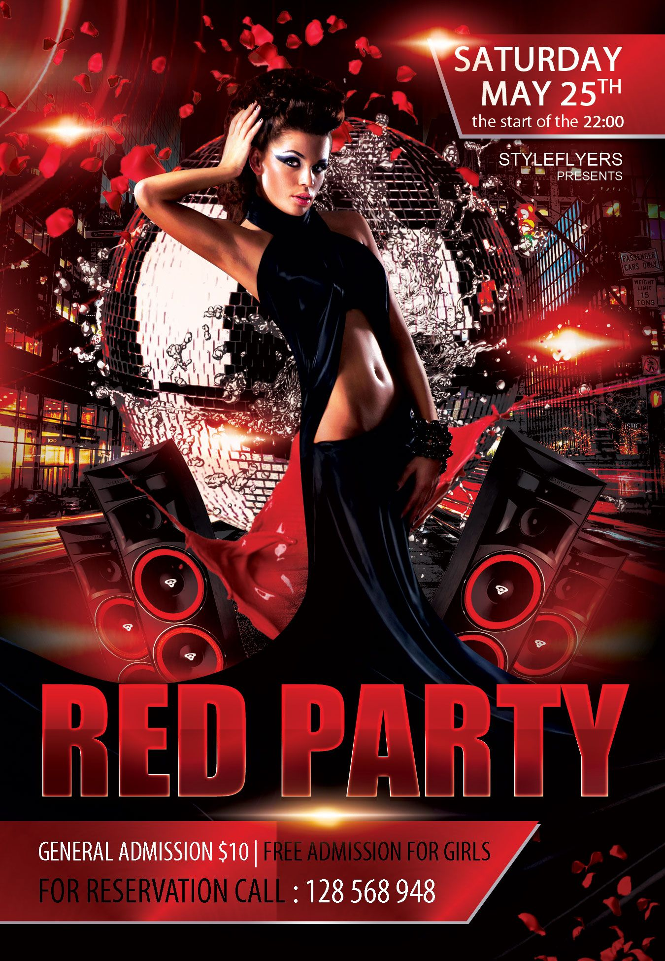 Free Red Party Flyer Psd Template  StyleflyerCom Club Dance