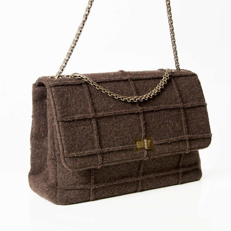 2d1130a63f40 Chanel Identification Brown Flap Bag image 2 | Chanel Wool 2.55 ...