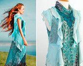 Long silk dress Ethnic  turquoise Maxi dress Shabby chic Silk waistcoat blue Sleeveless Mori girl Boho Gypsy Refashioned One of a kind