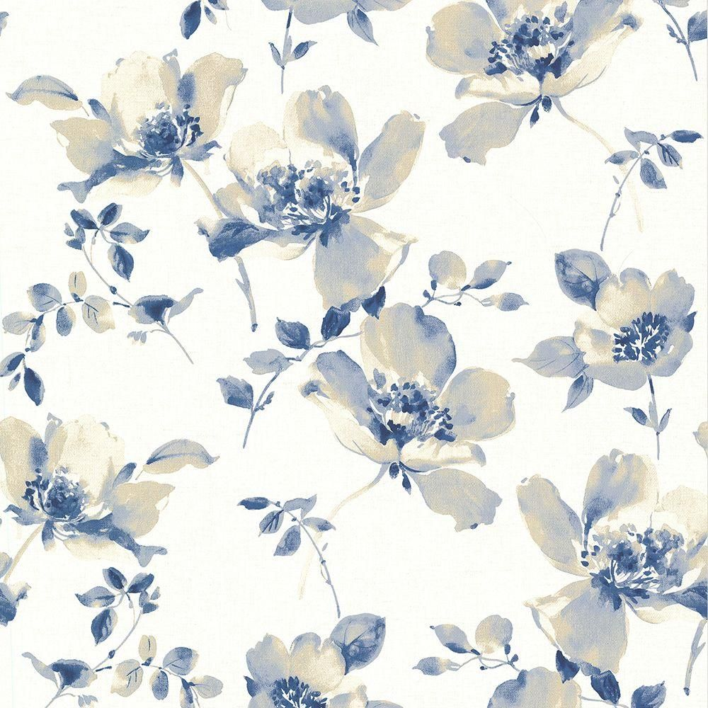 Brewster Ludor Blue Floral Wallpaper Blue Floral Wallpaper