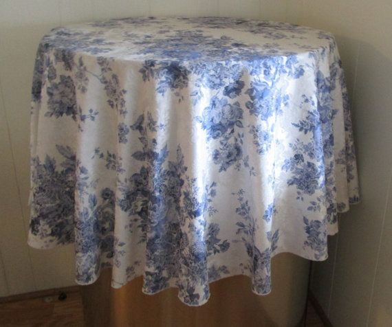 Round Damask French Country Tablecloth By VintageLinenGallery