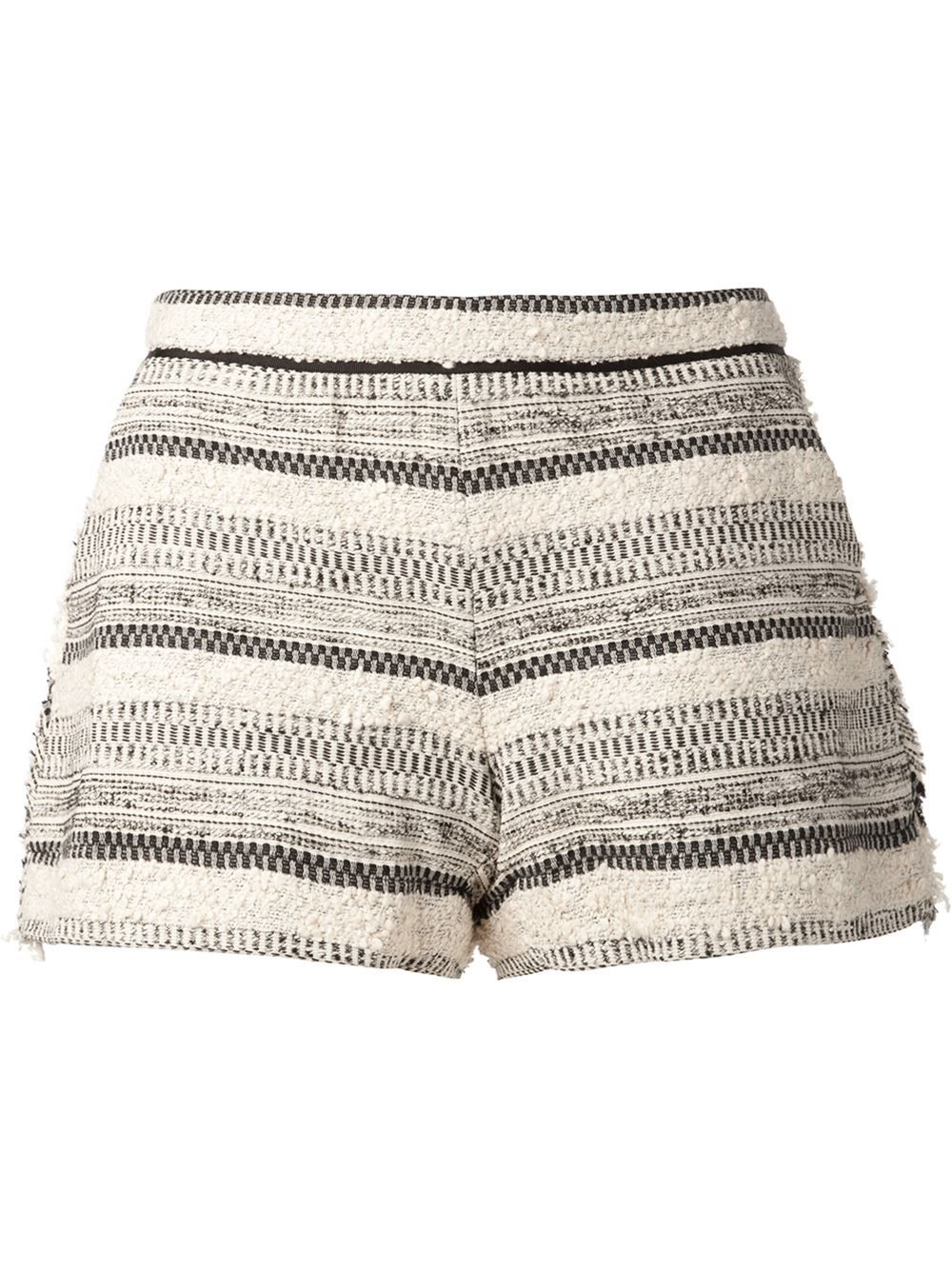 f91ed10239 Tweed Banded Trim Short Patterned Shorts, Striped Shorts, Printed Shorts,  Black And White