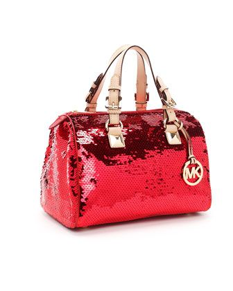 Michael Kors Medium Grayson Sequin Satchel Red Gold Sequins With Vachetta Leather Trim Zip Top Style 30h1mgs2y