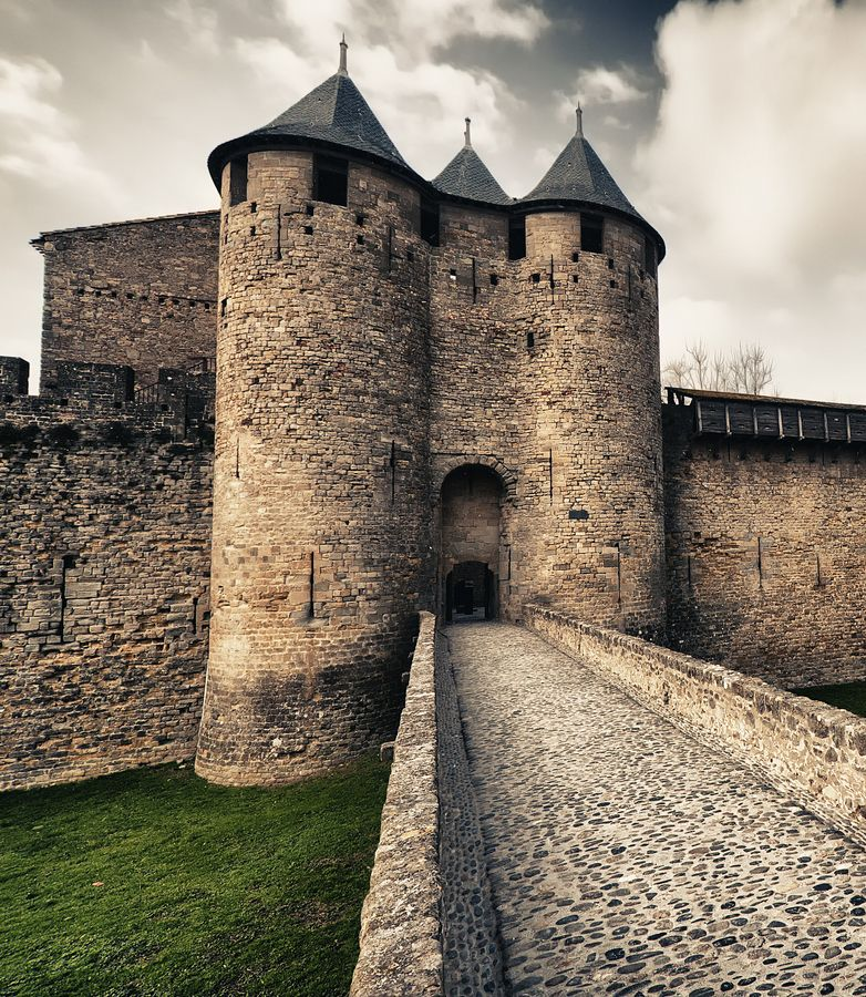 the medieval walled city of carcassonne in southern france on walled id=33455