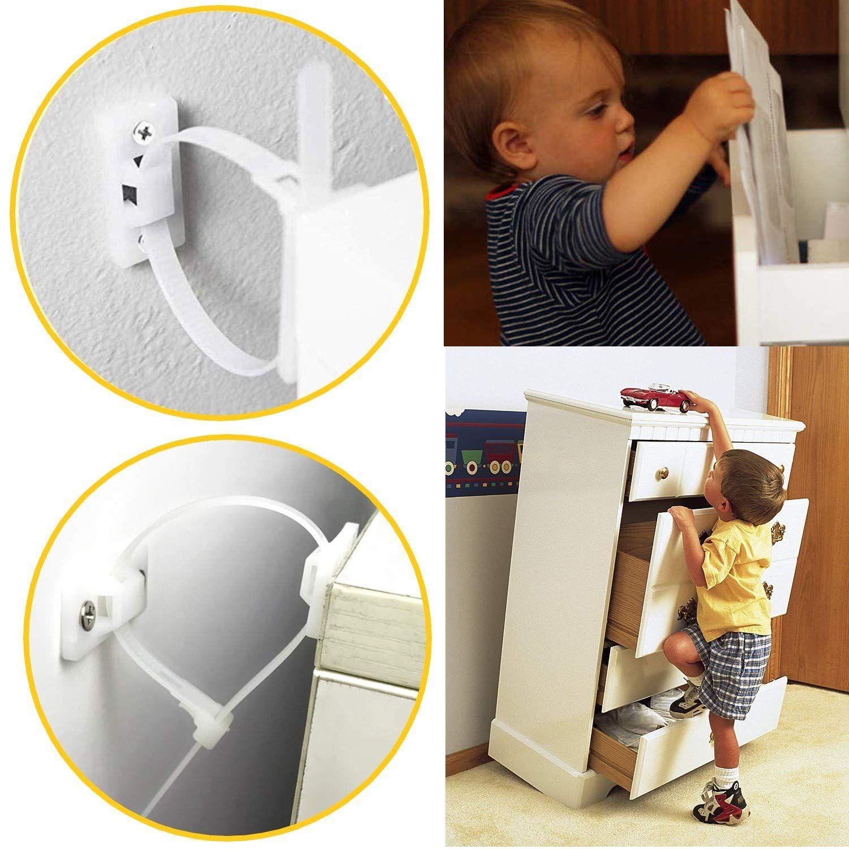Babya Furniturea Strapsa 12packs Baby Proofinga Anti Tip Furniture Anchor Kit Adjustable Child Safety Strap Furniture Anchors Furniture Straps Baby Proofing