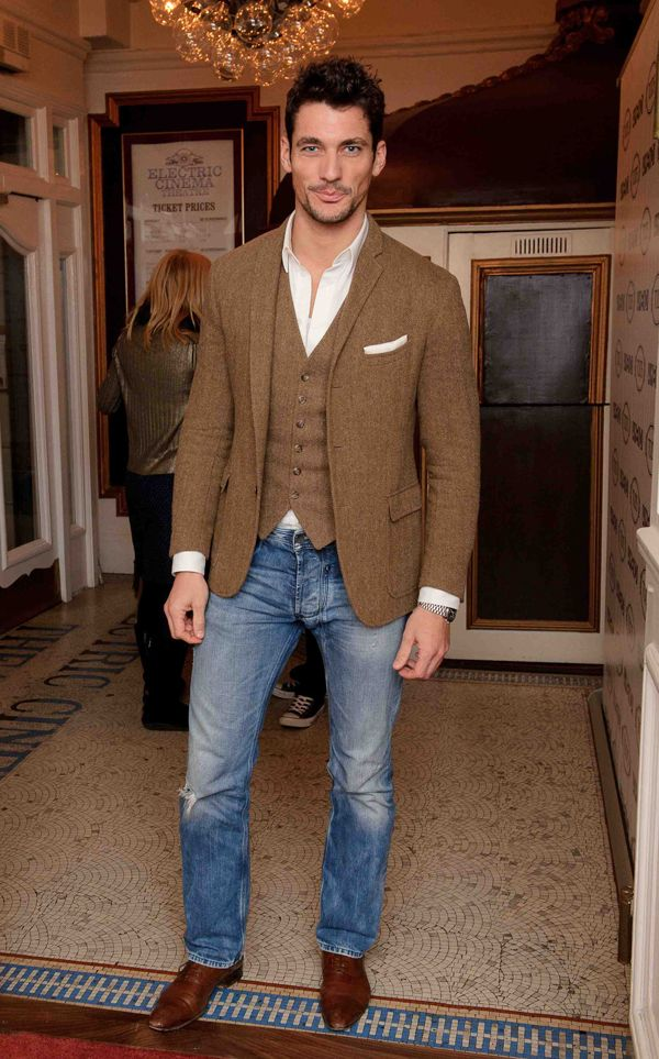 4f775dc4967aa tweed jacket, matching tweed vest, white pocket square, unbuttoned white  shirt, blue jeans, brown lace-up shoes