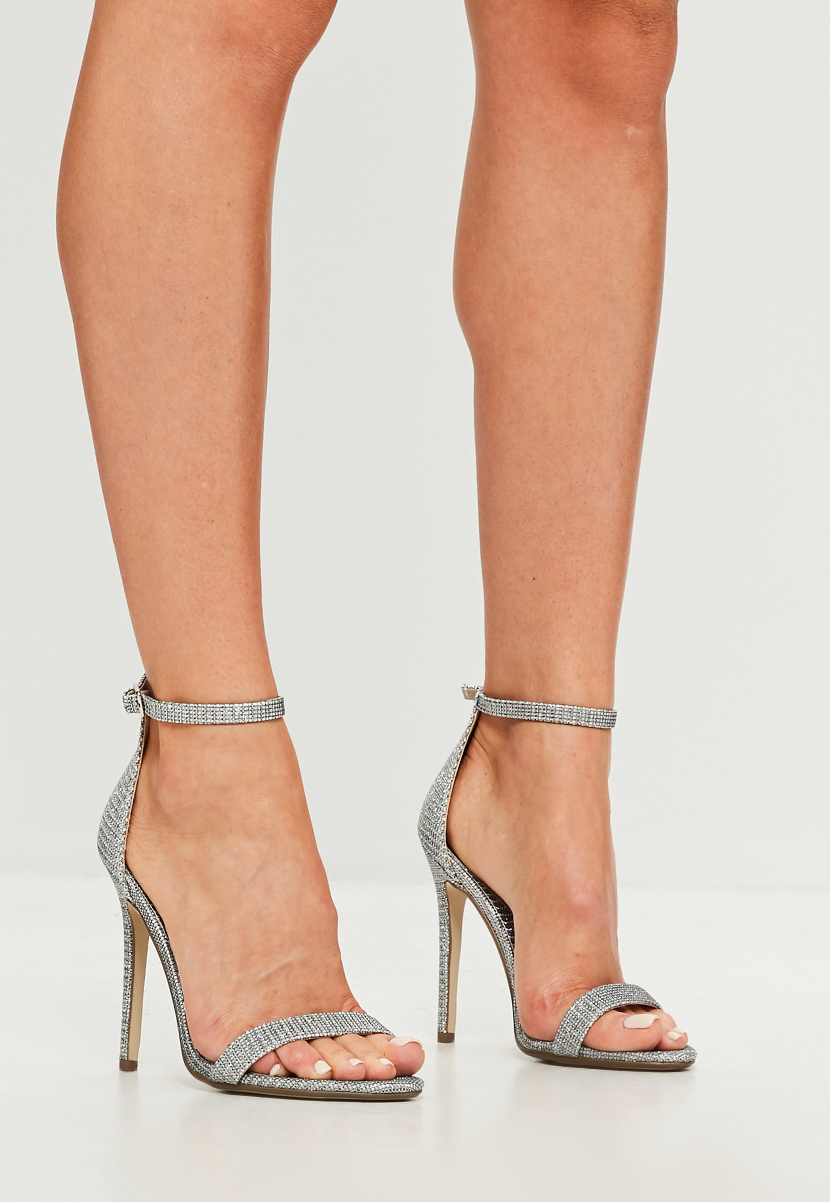 9a16feda26c Silver Glitter Two Strap Barely There Heels