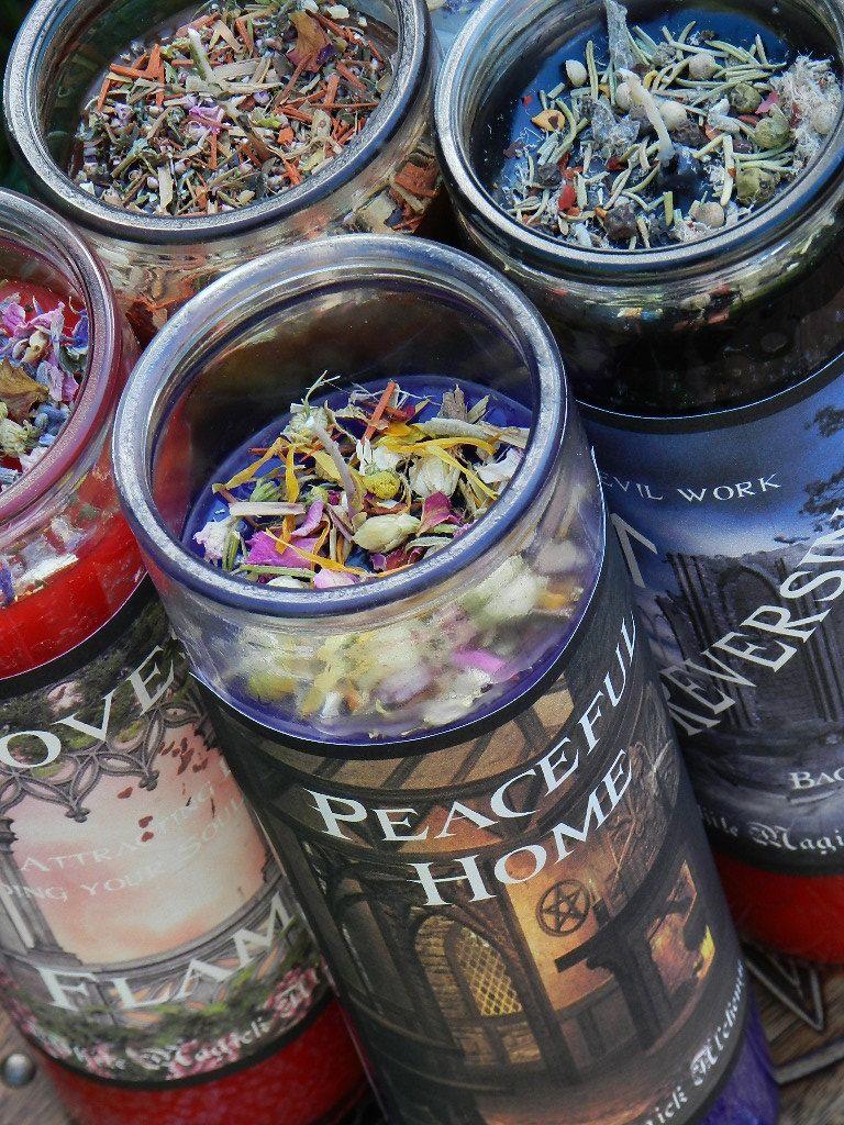 Peaceful Home Ritual Spell Jar Vigil Candle   Peace, Balance, Love