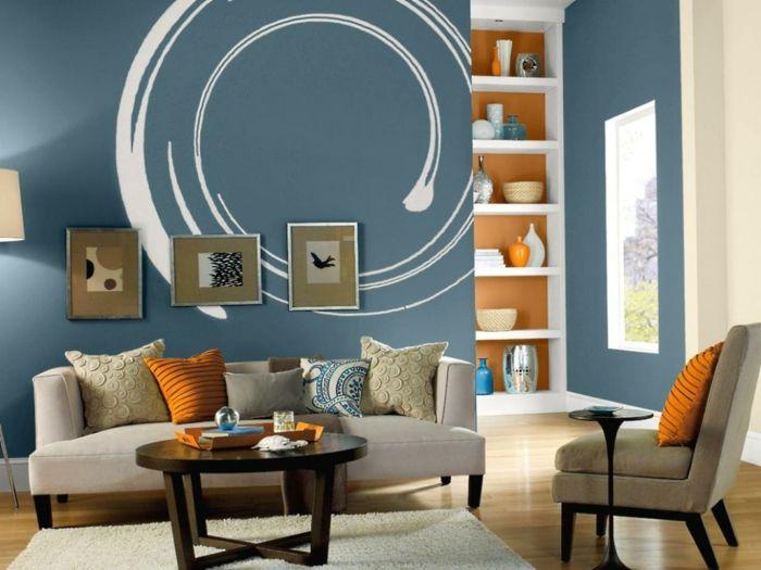 Wandgestaltung Ideen Wohnzimmer Blaue Wände Orange Akzente