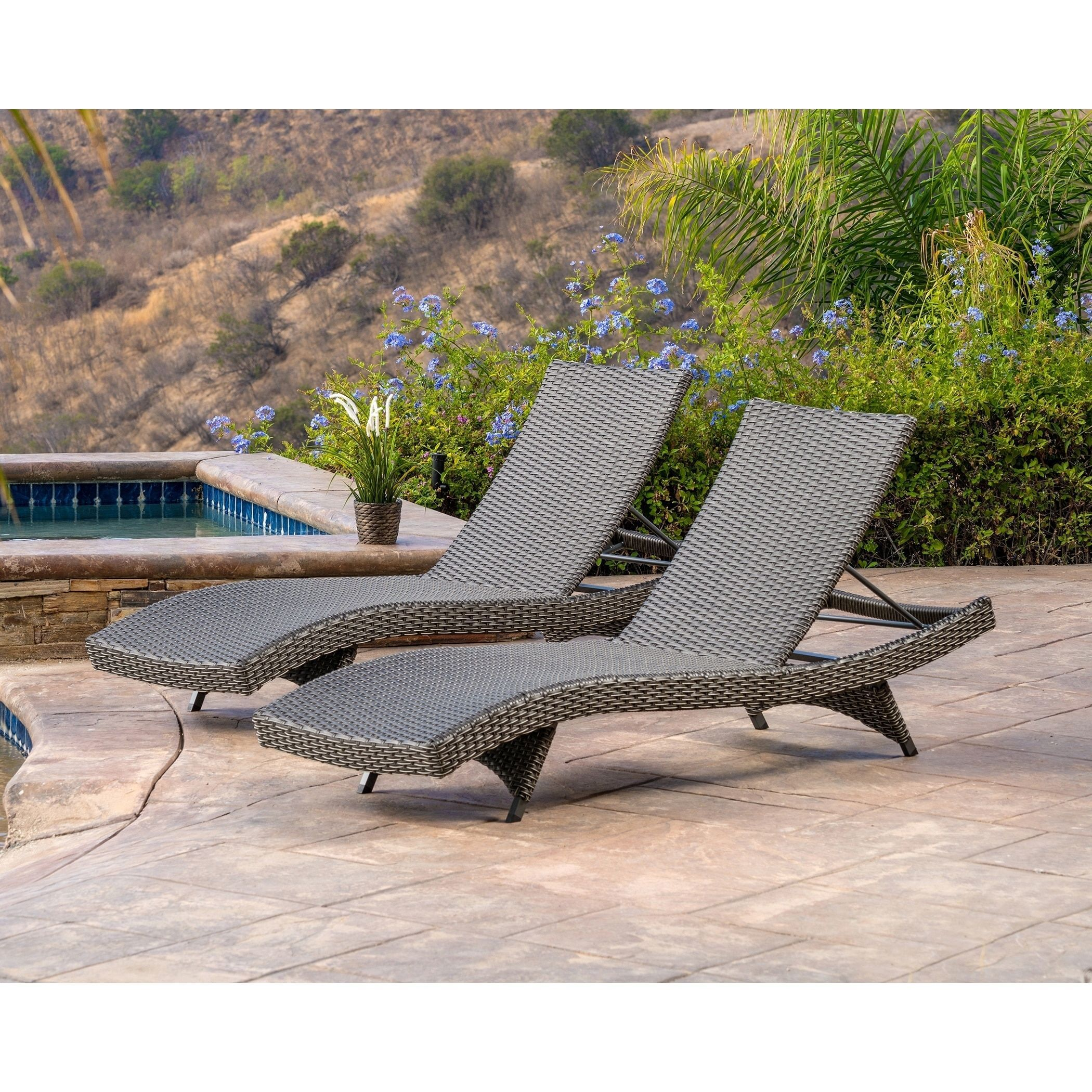 Abbyson Soleil Grey Patio Lounger Set Of 2 Chaise Lounge