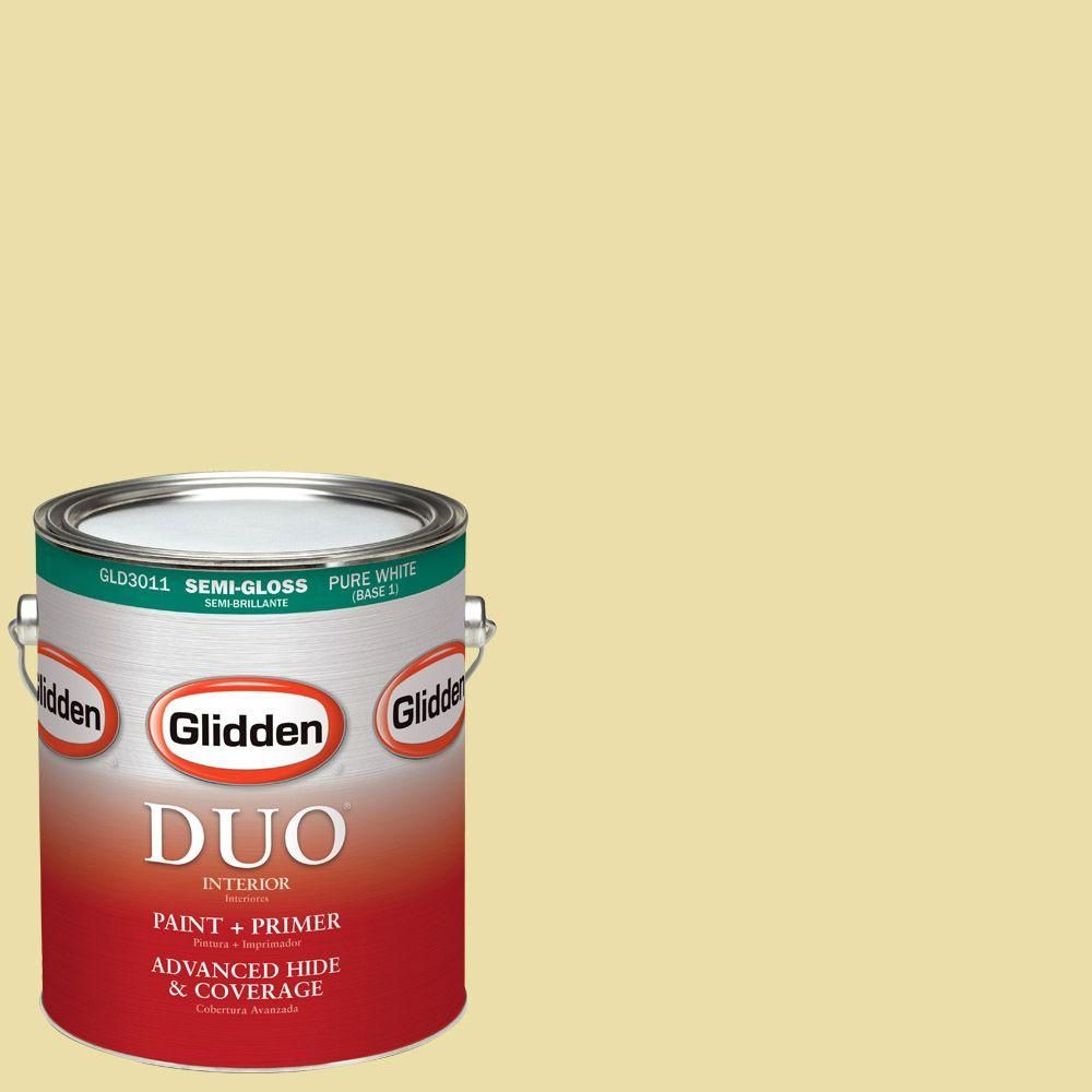 Glidden DUO 1-gal. #HDGY59 Candle Glow Semi-Gloss Latex Interior Paint with Primer