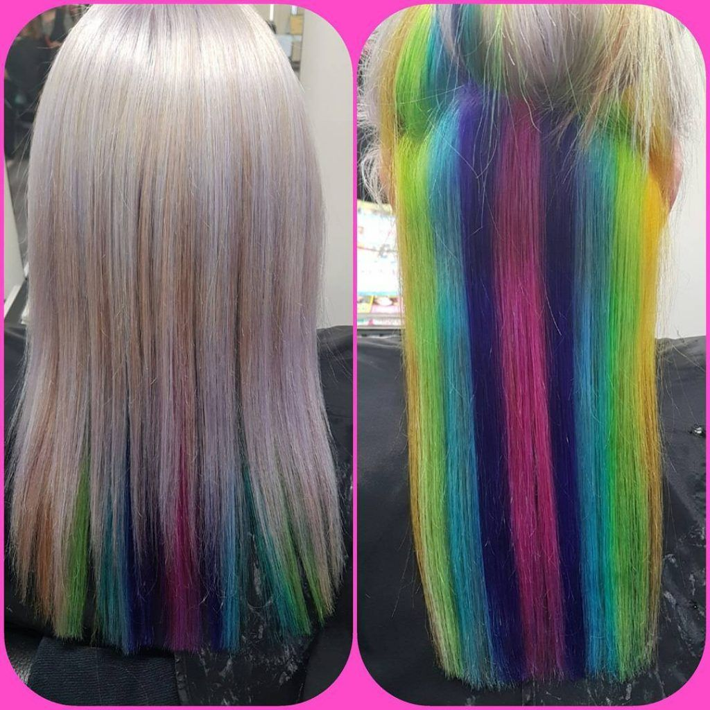 Pastel High Lights On Blonde Hair Unicorn Hair Color Hair Styles Coloured Hair