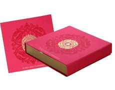 Wedding Card Box In Exquisite Pink And Antique Golden Color Cards