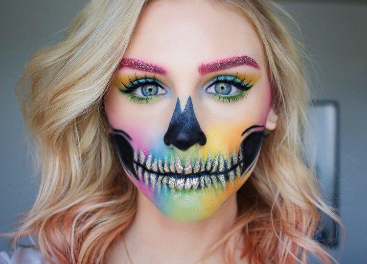 Fasching Halloween Kostum Schminke Regenbogen Sugar Skull Makeup