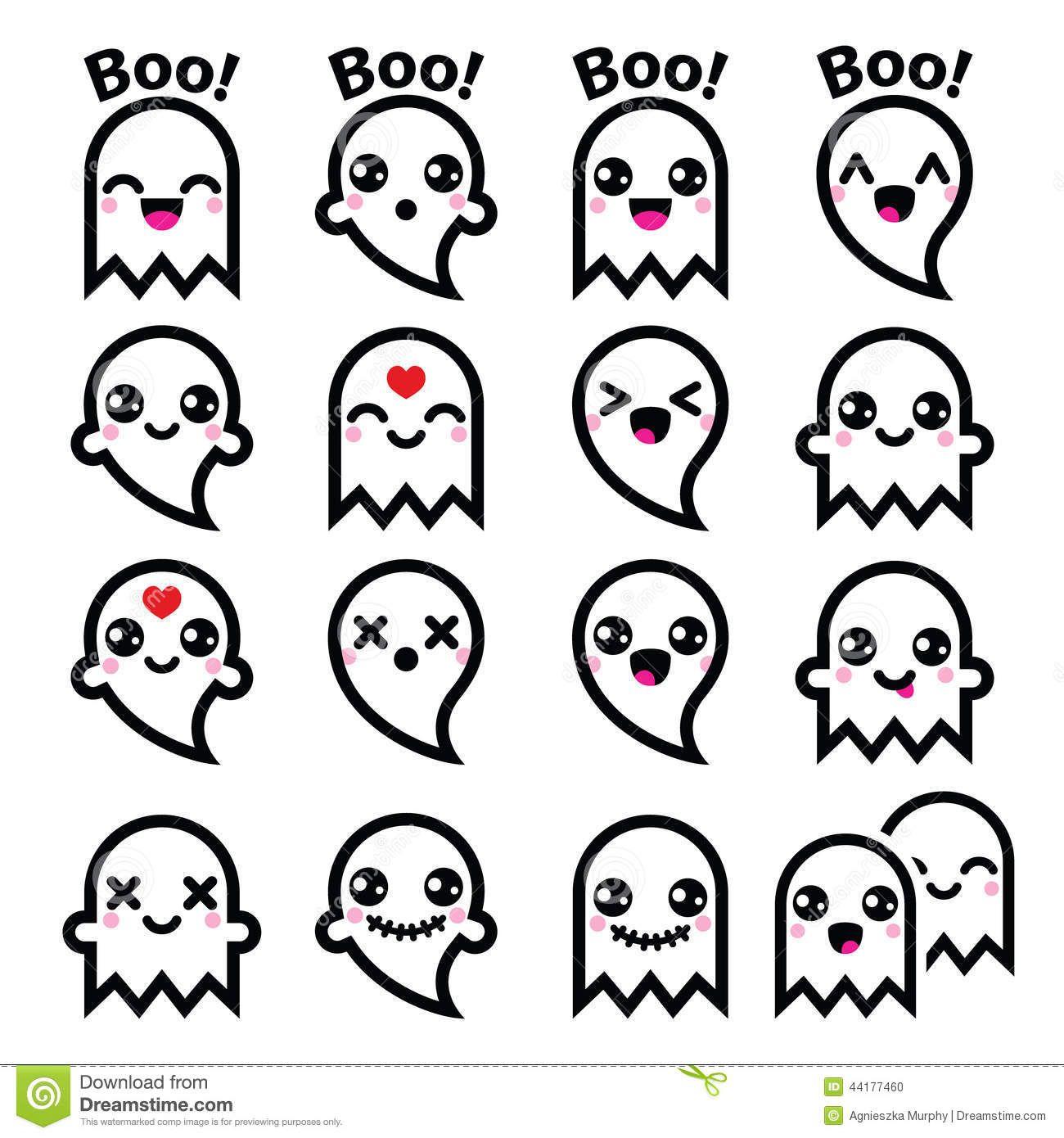 kawaii-cute-ghost-halloween-icons-set-vector-character ...