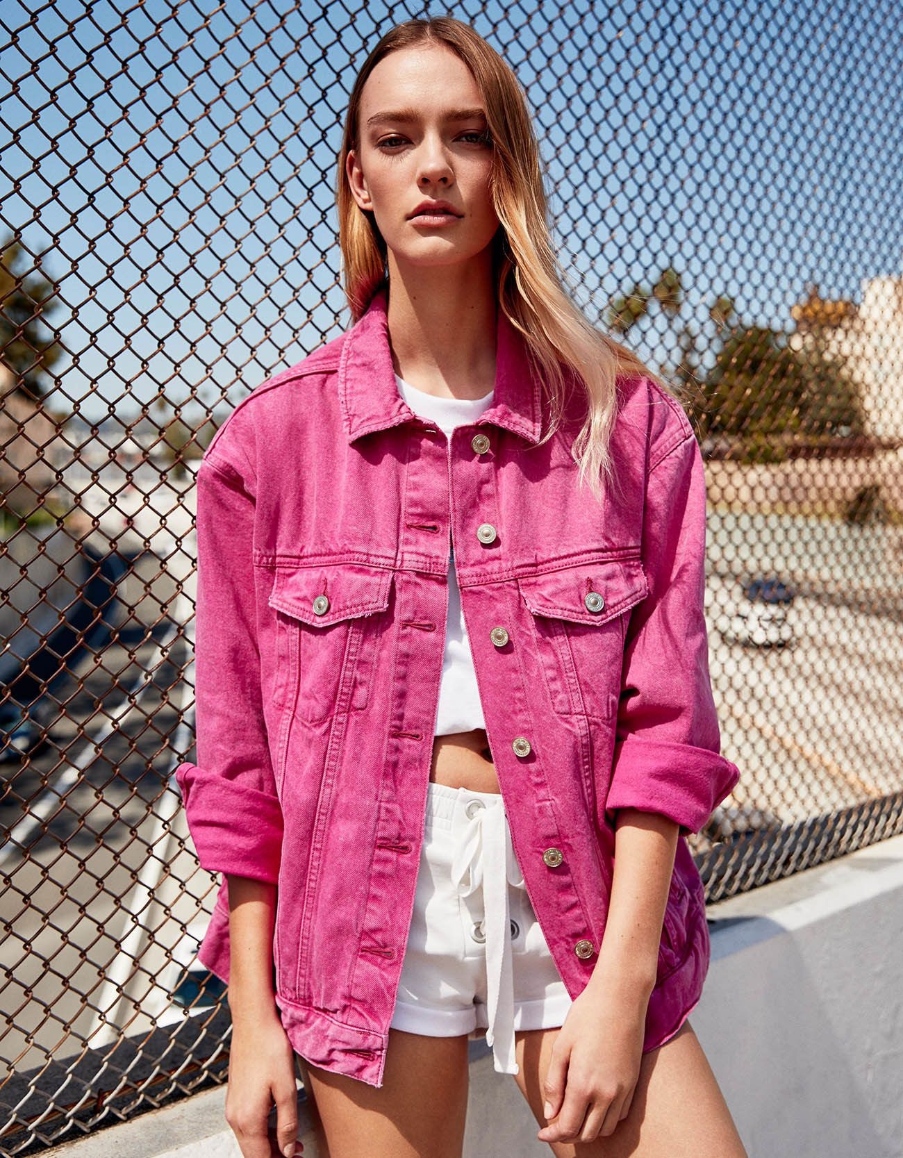9e46b522be Oversized denim jacket. Discover this and many more items in Bershka with  new products every week