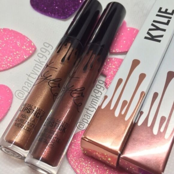 Kylie Jenner Metaallic Bundle rdy to ship NEW Kylie Jenner Metallic Lip gloss bundle King and  REIGN brand new Authentic Kylie Jenner long-lasting smudge proof lipgloss that hydrates moisturizes  with this rich metallic color Kylie Cosmetics Makeup Lip Balm & Gloss