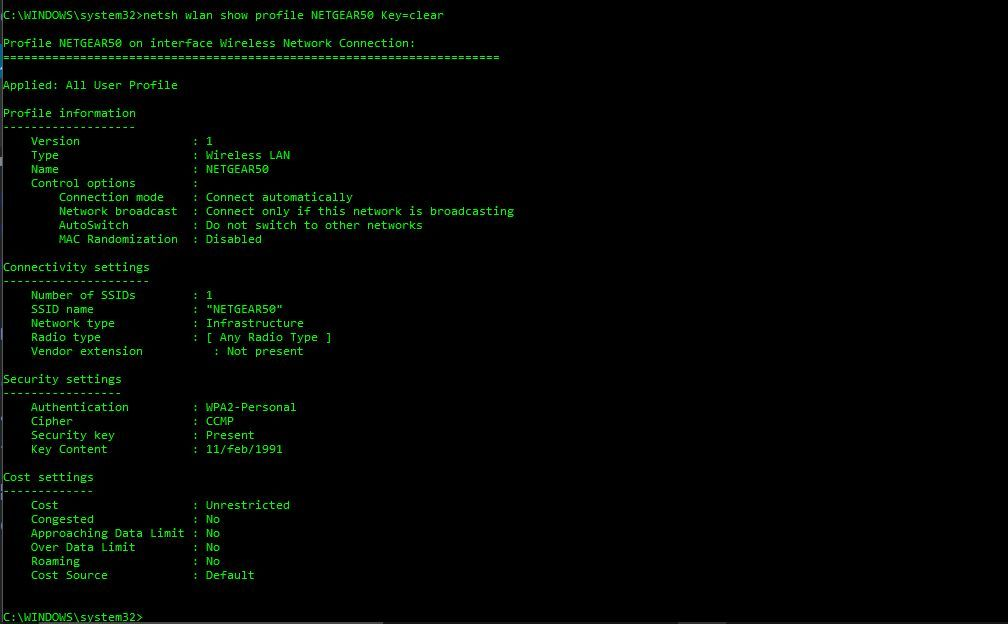 how to hack wifi password using command prompt in windows xp