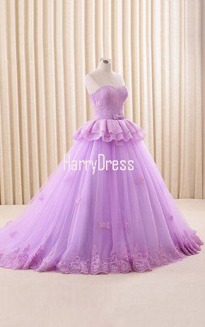 Lilac Ball Gown Sweetheart Lace Tulle Sweep Train Appliques Lace ...