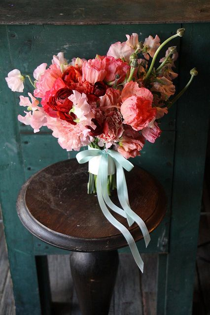 Coral, Peach, Burgundy Whimsical Bouquet Of Icelandic Poppies, Parrot  Tulips, Sweet Pea